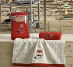 "Кухонные полотенца ""KARNA"" LEMON 45x65 1/2 Красный"