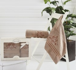 "Комплект махровых полотенец ""KARNA"" в коробке AGRA 50x90-70х140 см 1/2"